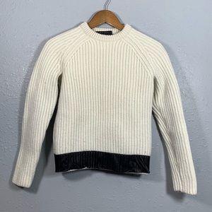 RAG & BONE Wool Lamb Leather Sweater Size Small